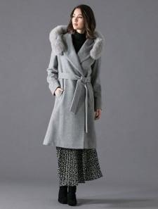 ファー付フードベルテッドコート
