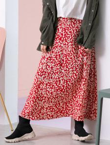 カラーレオパードロングスカート