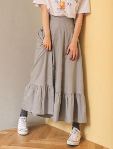 裾デザインバックゴムスカート