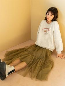 裾切り替えチュールスカート