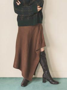 裾デザインニットスカート