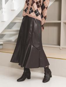 【やまももちゃんねるつセレクト】総ゴムレザーマーメイドスカート