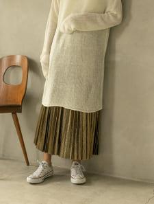 メタリックプリーツスカート