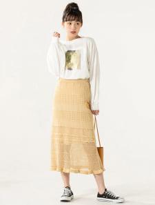 透かし編みデザインヘムスカート