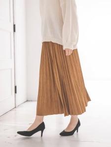 プリーツスエードロングスカート
