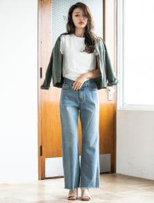 【Korea Select】 ハイウエストカットオフスリムワイドデニム/Palm