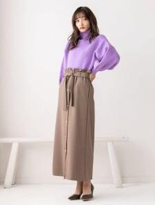 ハイウエストフロントボタンロングスカート