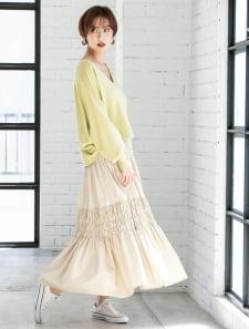 ギャザーデザインマキシスカート