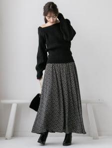 小花柄ロングフレアスカート