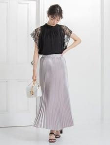 シャイニーロングプリーツスカート