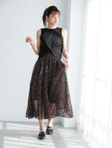 小花柄シフォンロングスカート