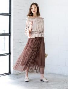 ロングチュールプリーツスカート
