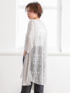 シースルー刺繍ロングガウン