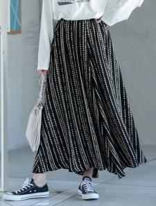 パターンフレアロングスカート
