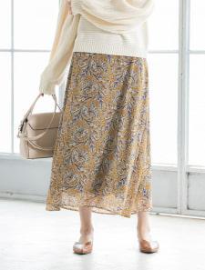 カラーペイズリーロングフレアスカート