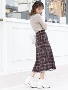 【星玲奈レコメンド】裾フリンジチェック柄ニットスカート