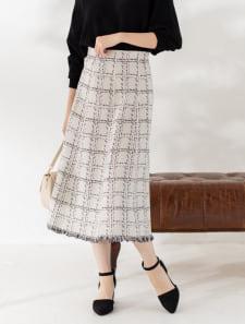 裾フリンジチェック柄ニットスカート