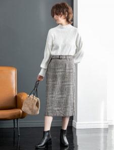 ウエストベルト付きチェックタイトスカート