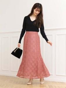 裾フレアフラワーレーススカート