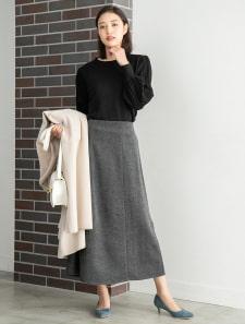 ウール混ヘリンボーンスカート