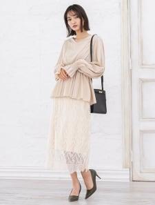 ウエストリブレース刺繍スカート