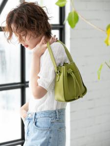 巾着デザイン2wayカラーバッグ