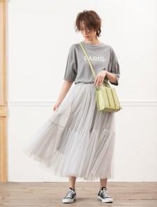 チュールデザインフレアスカート