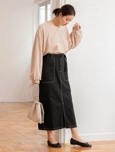 配色ステッチタイトスカート