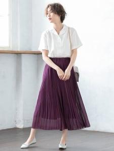 シフォン細プリーツスカート