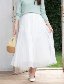 チュールプリーツカラースカート