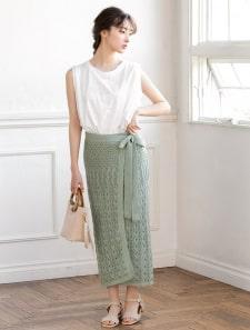 透かし編みラップ風スカート