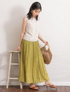 カラーワッシャーロングスカート