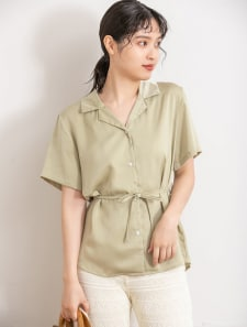 サテン開襟シャツ