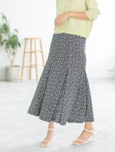 小花柄マーメイドロングスカート