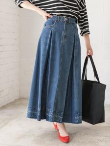 裾カットオフデニムフレアスカート