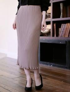 ランダムプリーツ裾メロウタイトスカート