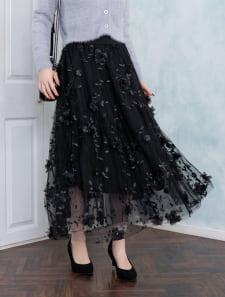 刺繍花柄チュールフレアスカート