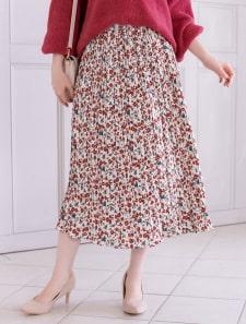 小花柄プリーツロングスカート