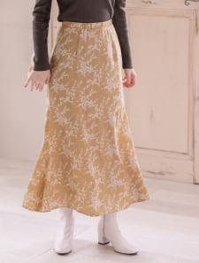 単色フラワーマーメイドロングスカート