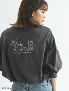 【Disney】美女と野獣/モノトーンプリントロングTシャツ