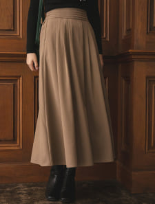ピンタックロングフレアスカート