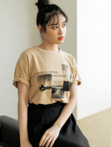 ルーズモノクロフォトTシャツ