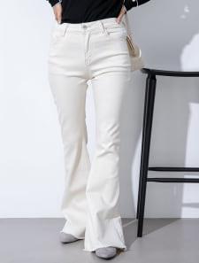 裾カットオフフレアデニムパンツ