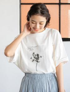 【ユニセックス】オーバーサイズグラフィック柄シェアTシャツ