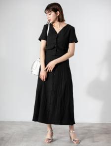 【田中亜希子監修】シワ加工フロントボタンスカートセットアップ