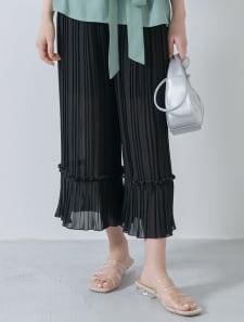裾切り替えプリーツデザインパンツ