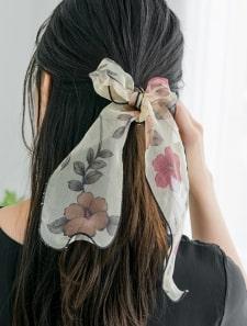 オーガンジーフラワースカーフ
