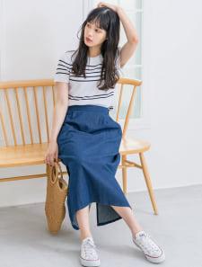 ミドル丈デニムタイトスカート