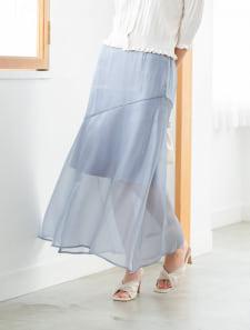 シャイニーサテン切り替えスカート