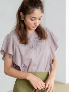 ラッフルスリーブ刺繍シャツ